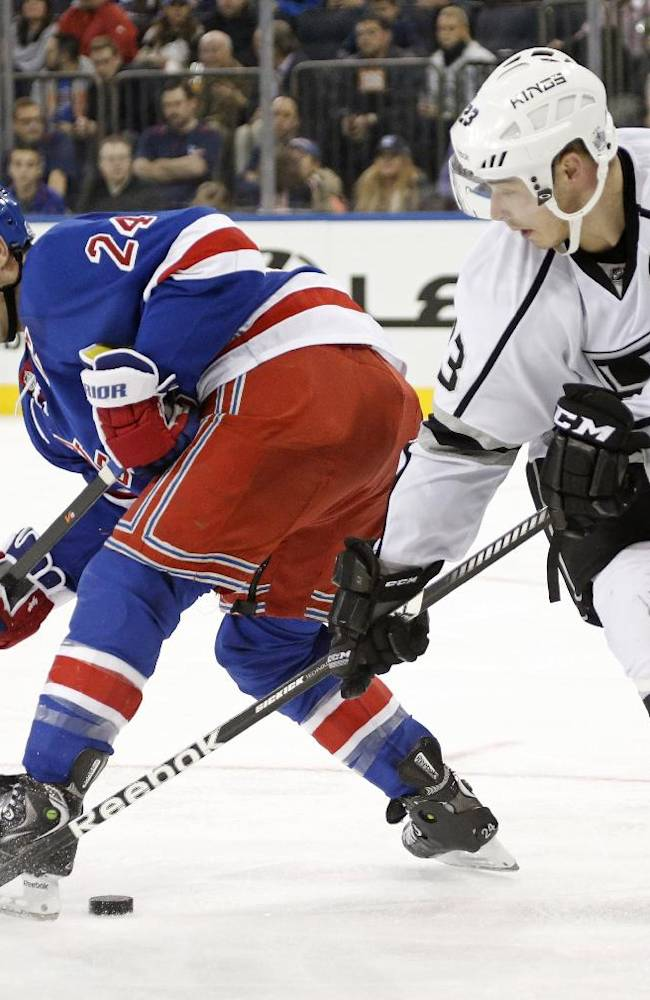 Los Angeles Kings right wing Dustin Brown (23) tries to steal the puck from New York Rangers right wing Ryan Callahan (24) in the third period of their NHL hockey game at Madison Square Garden in New York, Sunday, Nov. 17, 2013.  The Kings shutout the Rangers 1-0