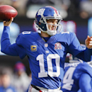 New York Giants quarterback Eli Manning (10) throws during the first quarter of an NFL football game against the Washington Redskins, Sunday, Dec. 14, 2014, in East Rutherford, N.J The Associated Press