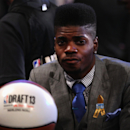 NEW YORK, NY - JUNE 27: Nerlens Noel of Kentucky looks on as he sits in the draft green room during the first round of the 2013 NBA Draft at Barclays Center on June 27, 2013 in in the Brooklyn Bourough of New York City. (Photo by Mike Stobe/Getty Images)