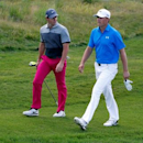 Aug 13, 2015; Sheboygan, WI, USA; Rory McIlroy and Jordan Spieth walk up the 15th fairway during the first round of the 2015 PGA Championship golf tournament at Whistling Straits. Mandatory Credit: Brian Spurlock-USA TODAY Sports