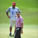 Zac Blair reacts to his putt on the 18th hole in the Web.com Tour Championship, Thursday, Sept. 18, 2014 in Ponte Vedra Beach, Fla. (AP Photo/Florida Times-Union, Bruce Lipsky)