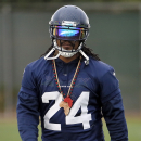 Seattle Seahawks' Marshawn Lynch (24) runs drills during a team practice for NFL Super Bowl XLIX football game, Wednesday, Jan. 28, 2015, in Tempe, Ariz. The Seahawks play the New England Patriots in Super Bowl XLIX on Sunday, Feb. 1, 2015 The Associated