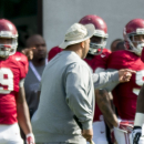 Alabama defensive lineman Jonathan Taylor (53) works through drills during Alabama's fourth spring NCAA football practice, Friday, Mar. 27, 2015, at the Thomas-Drew Practice Fields in Tuscaloosa, Ala. (AP Photo/AL.com, Vasha Hunt)