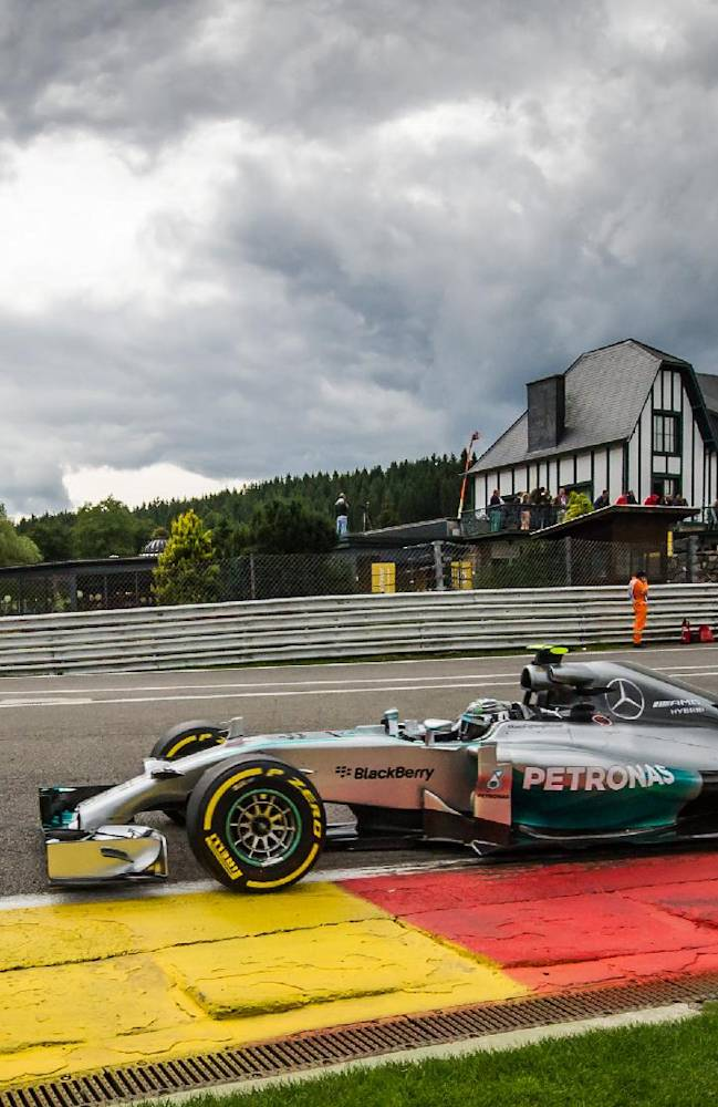 Mercedes driver Nico Rosberg of Germany steers his car during the second practice session ahead of Sunday's Belgian Formula One Grand Prix in Spa-Francorchamps, Belgium, Friday, Aug. 22, 2014