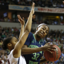 Notre Dame guard Jewell Loyd (32) collides into Connecticut guard Moriah Jefferson (4) during the first half of the championship game in the Final Four of the NCAA women's college basketball tournament, Tuesday, April 8, 2014, in Nashville, Tenn. (AP Photo/John Bazemore)