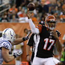 Cincinnati Bengals quarterback Jason Campbell (17) passes against Indianapolis Colts linebacker Andy Studebaker (58) in the first half of an NFL preseason football game, Thursday, Aug. 28, 2014, in Cincinnati The Associated Press