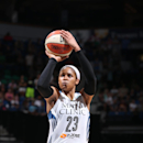 MINNEAPOLIS, MN - AUGUST 16: Maya Moore #23 of the Minnesota Lynx attempts a free throw against the Tulsa Shock during the WNBA game on August 16, 2014 at Target Center in Minneapolis, Minnesota. (Photo by David Sherman/NBAE via Getty Images)