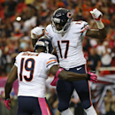 Chicago Bears wide receiver Josh Morgan (19) celebrates his touchdown with Chicago Bears wide receiver Alshon Jeffery (17) during the first half of an NFL football game against the Atlanta Falcons, Sunday, Oct. 12, 2014, in Atlanta The Associated Press