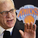 In this March 18, 2014 file photo, Phil Jackson, the new president of the New York Knicks, answers questions during a news conference in New York. Jackson won't be hiring himself to coach the Knicks. Two days after firing Mike Woodson, Jackson reiterated