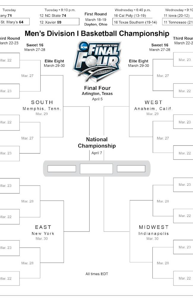ADDS early play-in game; bracket for the 2014 NCAA Mens Division I Basketball Championship; 5c x 8 inches; 245.5 mm x 203 mm;