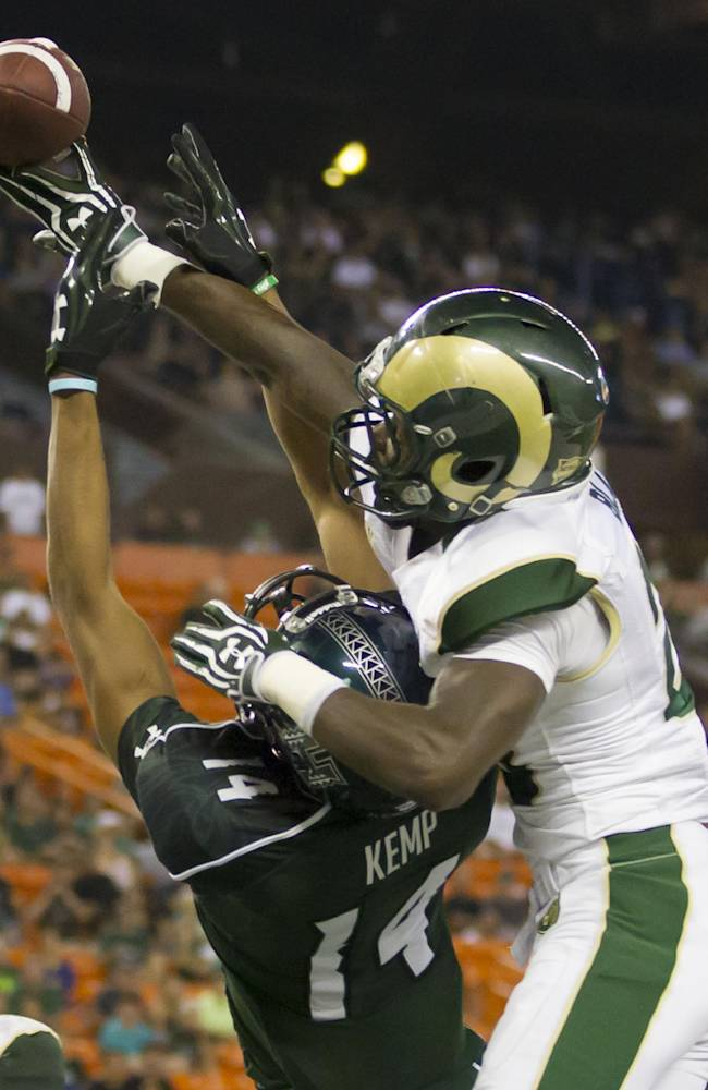 Colorado State defensive back Bernard Blake, right, breaks up a pass intended for Hawaii wide receiver Marcus Kemp (14) late in the fourth quarter of an NCAA college football game Saturday, Oct. 26, 2013, in Honolulu. Colorado State defeated Hawaii 35-28