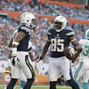 San Diego Chargers tight end Antonio Gates (85) is congratulated by wide receiver Keenan Allen (13) after scoring a touchdown during the first half of an NFL football game against the Miami Dolphins, Sunday, Nov. 17, 2013, in Miami Gardens, Fla The Associ