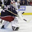 Columbus Blue Jackets' Sergei Bobrovsky, of Russia, protects the goal against the Pittsburgh Penguins during the first period of an NHL preseason hockey game Tuesday, Sept. 23, 2014, in Columbus, Ohio. The Associated Press