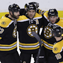 Boston Bruins center Patrice Bergeron, second from left, is congratulated by teammates after his goal against the New York Rangers during the first period of an NHL hockey game in Boston, Thursday, Jan. 15, 2015 The Associated Press