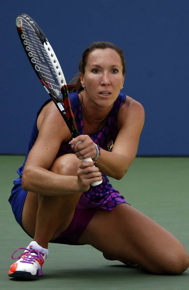 Jelena Jankovic, of Serbia, watches a shot fall against Tsvetana Pironkova, of Bulgaria, during the second round of the 2014 U.S. Open tennis tournament, Wednesday, Aug. 27, 2014, in New York