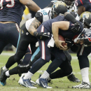 Houston Texans quarterback Case Keenum (7) gets sacked by Jacksonville Jaguars outside linebacker Geno Hayes (55) and defensive end Jason Babin (58) during the second quarter of an NFL football game Sunday, Nov. 24, 2013, in Houston The Associated Press