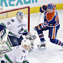 Vancouver Canucks' Jacob Markstrom (35) makes the save on Edmonton Oilers' Ryan Smyth (94) as Dan Hamhuis (2) defends during the second period of an NHL hockey game Saturday, April 12, 2014, in Edmonton, Alberta The Associated Press