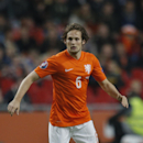 Netherlands' Daley Blind passes the ball during the Euro 2016 group A qualifying round soccer match between the Netherlands and Latvia at ArenA stadium in Amsterdam, Netherlands, Sunday, Nov. 16, 2014. Manchester United midfielder Blind could face a lengt