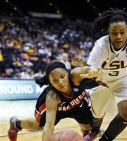 San Diego State guard Kiyana Stamps, left, dives after a loose ball along with LSU guard Bianca Lutley (3) during the first half of a first-round NCAA women's tournament college basketball game, Sunday, March 18, 2012, in Baton Rouge, La. (AP Photo/Bill Feig)