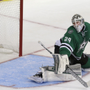 Dallas Stars goalie Anders Lindback (29) can't stop the goal shot allowing a goal by St. Louis Blues center Patrik Berglund, not shown, during the second period of an NHL preseason hockey game, Monday, Sept. 22, 2014, in Dallas The Associated Press