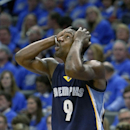 Memphis Grizzlies guard Tony Allen (9) reacts to a call against him in the third quarter of play against the Oklahoma City Thunder in Game 1 of the opening-round NBA basketball playoff series in Oklahoma City on Saturday, April 19, 2014. Oklahoma City won
