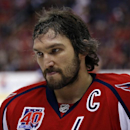 Washington Capitals left wing Alex Ovechkin (8), from Russia, pauses on the ice in the first period of an NHL hockey game against the Edmonton Oilers, Tuesday, Jan. 20, 2015, in Washington The Associated Press