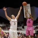 Arizona State 's Elisha Davis (23) shoots over Stanford 's Mikaela Ruef (3) during the second half of an NCAA college basketball game in Stanford, Calif., Sunday, Feb. 10, 2013. Stanford won 69-45. (AP Photo/Marcio Jose Sanchez)