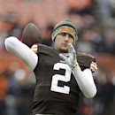 Cleveland Browns quarterback Johnny Manziel warms up before an NFL football game against the Houston Texans Sunday, Nov. 16, 2014, in Cleveland. (AP Photo/Tony Dejak)