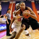 Maryland's Alicia DeVaughn is pressured by Clemson's Quinyotta Pettaway after making a steal during the first half of an NCAA college basketball game Sunday, Jan.27, 2013 at Littlejohn Coliseum in Clemson, S.C.(AP Photo/Richard Shiro)
