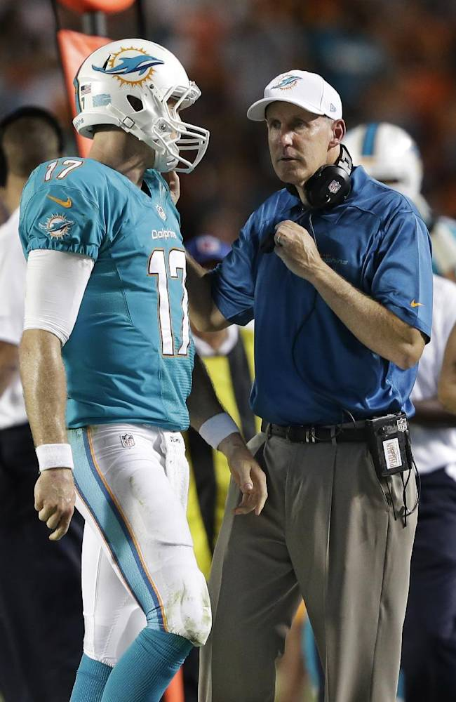 Miami Dolphins coach Joe Philbin speaks to quarterback Ryan Tannehill during the first half of an NFL football game against the Cincinnati Bengals, Thursday, Oct. 31, 2013, in Miami Gardens, Fla
