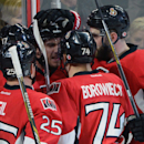 Ottawa Senators' celebrate a first period goal by David Legwand while taking on the Columbus Blue Jackets in NHL hockey action in Ottawa, Ontario, on Saturday, Oct. 18, 2014 The Associated Press