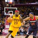 CLEVELAND, OH - NOVEMBER 26: LeBron James #23 of the Cleveland Cavaliers drives past Paul Pierce #34 of the Washington Wizards during the second half at Quicken Loans Arena on November 26, 2014 in Cleveland, Ohio. The Cavaliers defeated the Wizards 113-87. (Photo by Jason Miller/Getty Images)