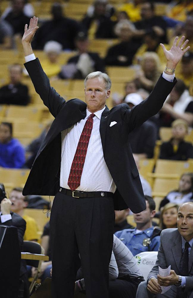 In this Nov. 1, 2013, photo, Central Missouri men's basketball coach Kim Anderson signals to his players in Columbia, Mo. Missouri chose Anderson as its men's coach Monday, April 28, replacing Frank Haith, who left for Tulsa earlier this month