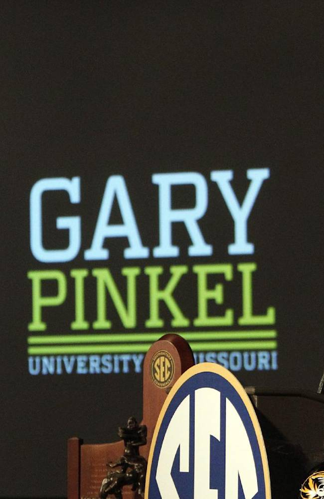 Missouri coach Gary Pinkel speaks to the media at the Southeastern Conference NCAA college football media days, Wednesday, July 16, 2014, in Hoover, Ala