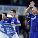 Chelsea's Eden Hazard, left, Oscar, and goal scorer Branislav Ivanovic celebrate winning the English League Cup semifinal second leg soccer match between Chelsea and Liverpool at Stamford Bridge stadium in London, Tuesday, Jan. 27, 2015