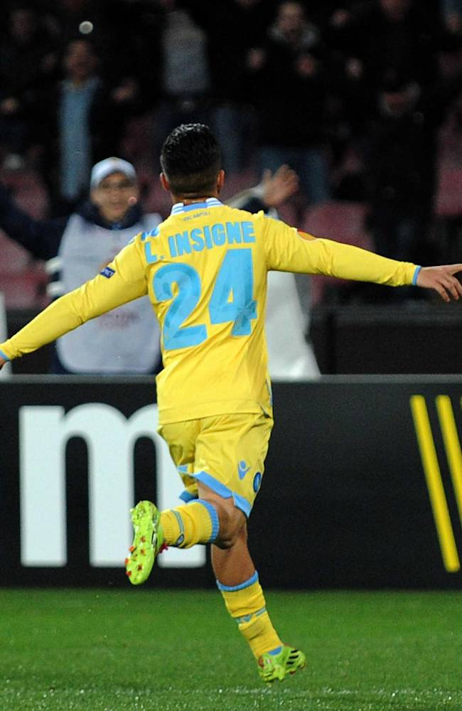 Napoli's Lorenzo Insigne celebrates after scoring during an Europe League, round of 32, second leg, soccer match between Napoli and Swansea, at the Naples San Paolo stadium, Italy, Thursday, Feb. 27,  2014