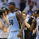 Zach Randolph #50 of the Memphis Grizzlies celebrates a 111-105 win in overtime against the Oklahoma City Thunder in Game Two of the Western Conference Quarterfinals during the 2014 NBA Playoffs at Chesapeake Energy Arena on April 21, 2014 in Oklahoma City, Oklahoma. (Photo by Ronald Martinez/Getty Images)