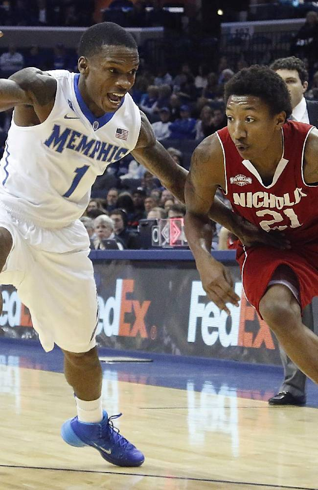 Nicholls guard Shane Rillieux (21) drives to the basket against Memphis guard Joe Jackson (1) in the first half of an NCAA college basketball game on Saturday, Nov. 23, 2013, in Memphis, Tenn