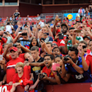 IMAGE DISTRIBUTED FOR GUINNESS INTERNATIONAL CHAMPIONS CUP - Fans celebrate during a match between Inter Milan and Manchester United in the 2014 Guinness International Champions Cup on Tuesday, July 29, 2014 in Landover, Maryland. (Larry French/AP Images