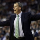 Florida Gulf Coast head coach Andy Enfield reacts during the first half of a second-round game against Georgetown during the NCAA college basketball tournament on Friday, March 22, 2013, in Philadelphia. (AP Photo/Matt Rourke)