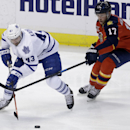 Toronto Maple Leafs center Nazem Kadri (43) and Florida Panthers center Jesse Winchester (17) chase the puck in the second period of an NHL hockey game on Thursday, April 10, 2014, in Sunrise, Fla. The Panthers defeated the Maple Leafs 4-2 The Associated