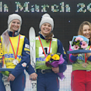 From left, second placed Kiley McKinnon of the U.S, winner Ashley Caldwell of the U.S, and third placed Veronika Korsunova of Russia stand on a podium celebrating their victory in the FIS Freestyle Ski World Cup 2015 event in Raubichi, on the outskirts of Minsk, Belarus, Sunday, March 1, 2015. Ashley Caldwell took gold, Kiley McKinnon silver and Veronika Korsunova took bronze. (AP Photo/Sergei Grits)