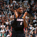 SAN ANTONIO, TX - JUNE 15: LeBron James #6 of the Miami Heat reacts during Game Five of the 2014 NBA Finals at AT&T Center on June 15, 2014 in San Antonio, Texas. (Photo by Nathaniel S. Butler/NBAE via Getty Images)