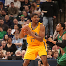 Andrew Bynum #17 of the Indiana Pacers controls the ball against the Boston Celtics at Bankers Life Fieldhouse on March 11, 2014 in Indianapolis, Indiana. (Photo by Ron Hoskins/NBAE via Getty Images)