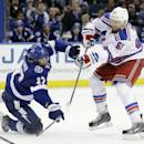 New York Rangers left wing Rick Nash (61) fires a wrist-shot past Tampa Bay Lightning center Alex Killorn (17) and goalie Ben Bishop for a goal during the third period of an NHL hockey game Wednesday, Nov. 26, 2014, in Tampa, Fla. The Lightning defeated the Rangers 4-3. (AP Photo/Chris O'Meara)