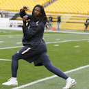 Houston Texans outside linebacker Jadeveon Clowney (90) warms up before the NFL football game against the Pittsburgh Steelers, Monday, Oct. 20, 2014, in Pittsburgh. Clowney has been injured and is questionable for the game. (AP Photo/Keith Srakocic)