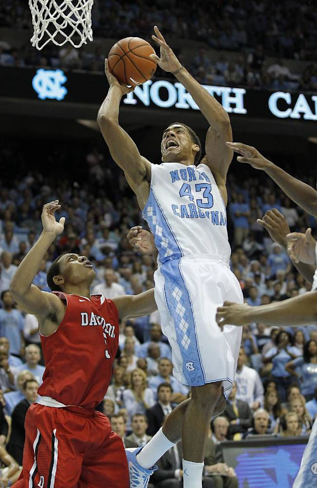 North Carolina's John Michael McAdoo (43) goes to the basket against Davidson's Brian Sullivan, left, during the second half of an NCAA college basketball game in Chapel Hill, N.C., Saturday, Dec. 21, 2013. North Carolina won 97-85 in overtime