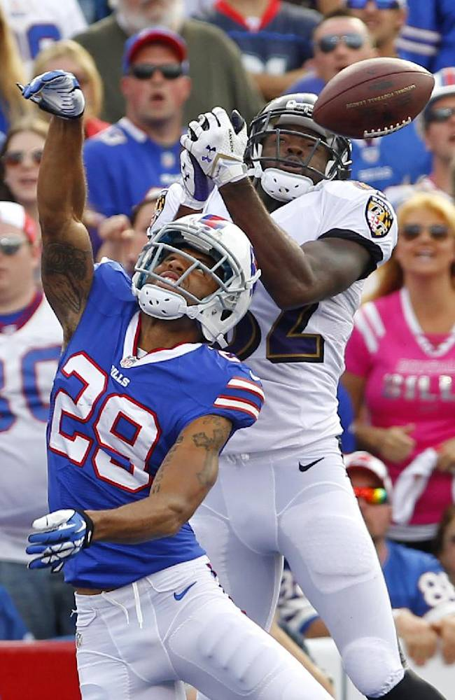 Buffalo Bills defensive back Brandon Burton (29) breaks up a pass intended for Baltimore Ravens wide receiver Torrey Smith (82) during the second half of an NFL football game on Sunday, Sept. 29, 2013, in Orchard Park, N.Y