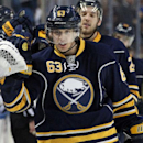 Buffalo Sabres' Tyler Ennis (63) celebrates his game-winning goal against the Los Angeles Kings during the third period of an NHL hockey game Tuesday, Dec. 9, 2014, in Buffalo, N.Y. Buffalo defeated Los Angeles 1-0 The Associated Press