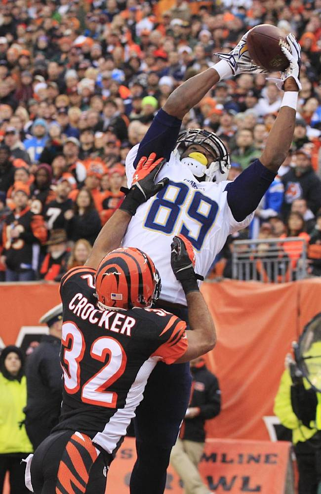 San Diego Chargers tight end Ladarius Green (89) catches a 4-yard touchdown pass against Cincinnati Bengals safety Chris Crocker (32) in the second half of an NFL wild-card playoff football game on Sunday, Jan. 5, 2014, in Cincinnati